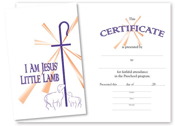 christian preschool certificates
